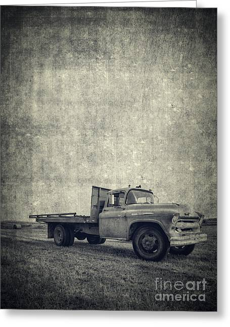 White Truck Greeting Cards - Old Farm Truck Cover Greeting Card by Edward Fielding