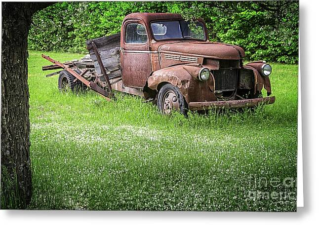 White Truck Greeting Cards - Old Farm Truck Greeting Card by Edward Fielding