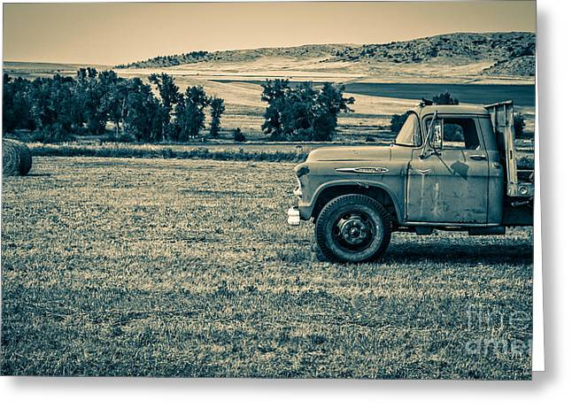 Old Trucks Greeting Cards - Old Farm Truck Fishtail Montana Greeting Card by Edward Fielding