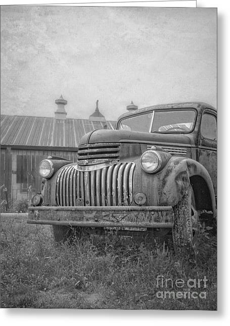 Chevy Pickup Greeting Cards - Old farm truck out by the barn Greeting Card by Edward Fielding