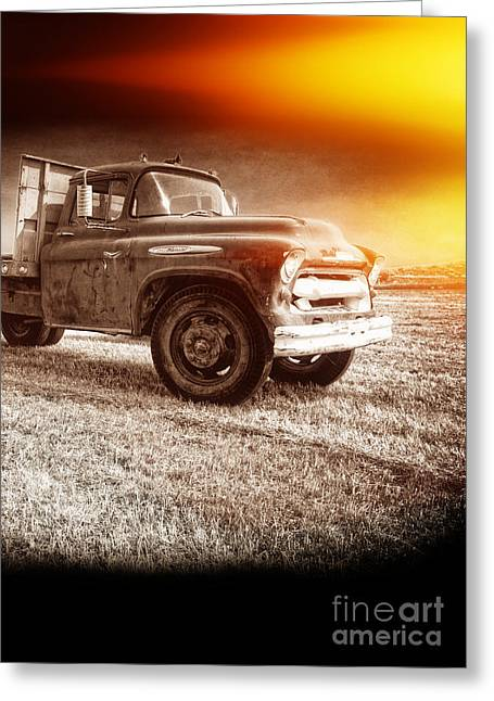 Explosion Greeting Cards - Old farm truck with explosion at night Greeting Card by Edward Fielding