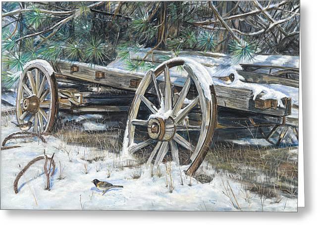 Wagon Pastels Greeting Cards - Old Farm Wagon Greeting Card by Nick Payne