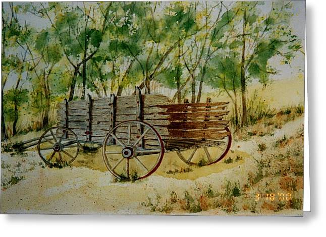 Wooden Wagons Paintings Greeting Cards - Old Farm Wagon  Greeting Card by Sandra Stone