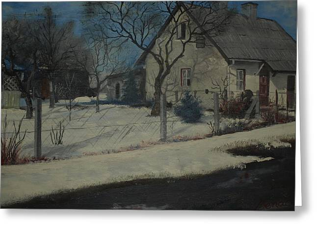 Winter Roads Mixed Media Greeting Cards - Old Farmhouse In Winter Greeting Card by Benaca
