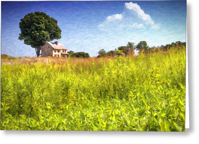 Reminiscent Greeting Cards - Old Farmhouse on the Hill Greeting Card by Vicki Jauron