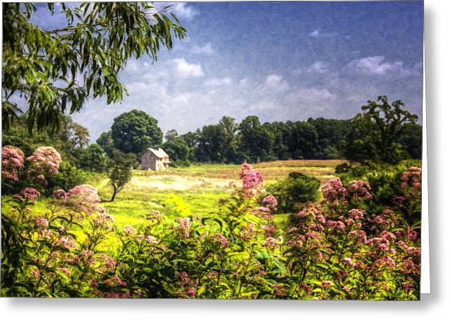 Reminiscent Greeting Cards - Old Farmhouse Through The Meadow Greeting Card by Vicki Jauron
