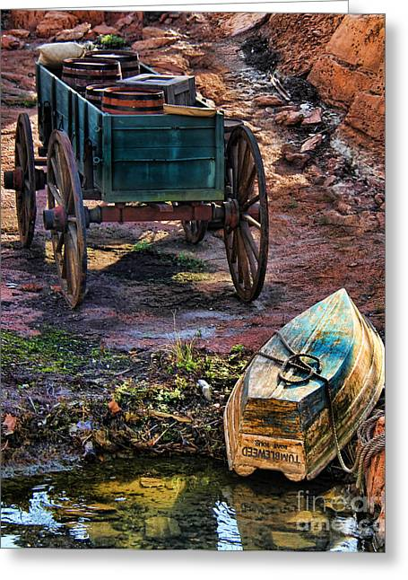 Wooden Wagons Greeting Cards - Old Fashion Cart And Boat  Greeting Card by Lee Dos Santos