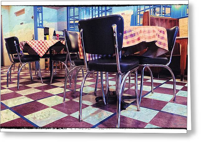 Table And Chairs Greeting Cards - Old Fashion Grill Greeting Card by Susan Stone