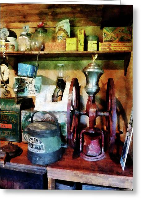 Coffee Greeting Cards - Old-Fashioned Coffee Grinder Greeting Card by Susan Savad
