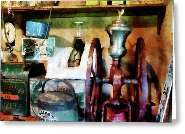 Old-Fashioned Coffee Grinder Greeting Card by Susan Savad