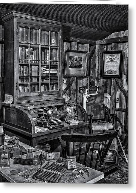 Old Fashioned Doctor's Office Bw Greeting Card by Susan Candelario