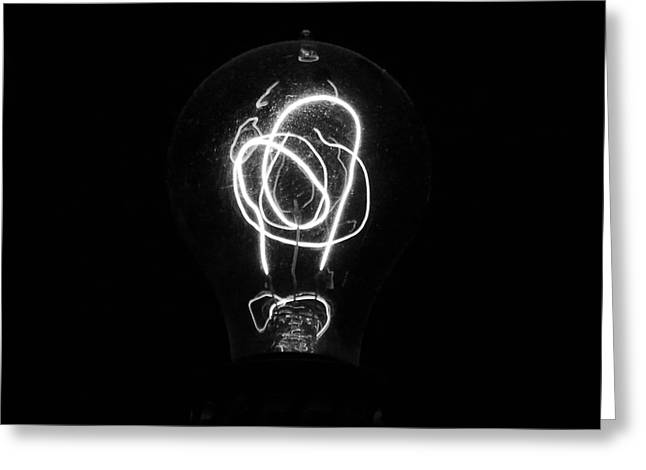 Edison Greeting Cards - Old Fashioned Edison Lightbulb Filaments Macro Black and White Greeting Card by Shawn O