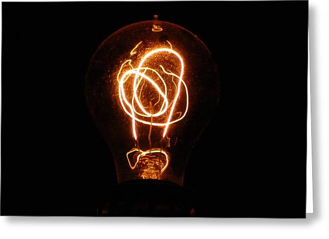 Illuminate Greeting Cards - Old Fashioned Edison Lightbulb Filaments Macro Greeting Card by Shawn O