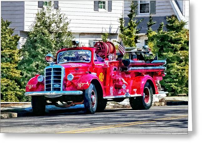 Fire Truck Greeting Cards - Old Fashioned Fire Truck Greeting Card by Susan Savad