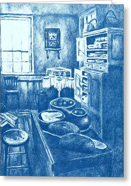 Interior Still Life Drawings Greeting Cards - Old Fashioned Kitchen in Blue Greeting Card by Kendall Kessler