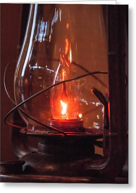 Outmoded Photographs Greeting Cards - Old fashioned lantern in darkness.   Greeting Card by Alexandr Grichenko