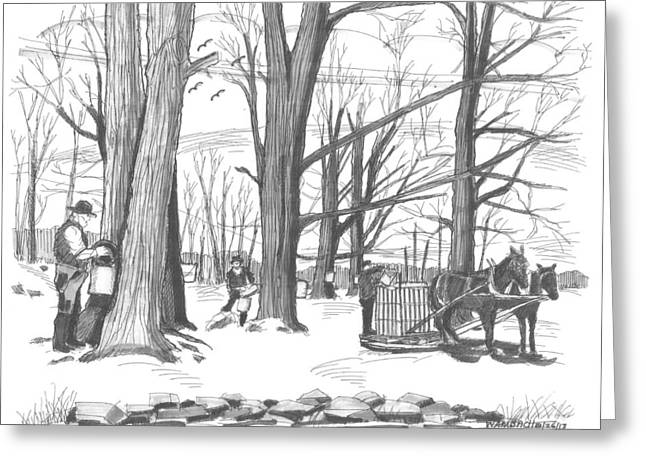New England Snow Scene Drawings Greeting Cards - Old Fashioned Maple Syruping Greeting Card by Richard Wambach