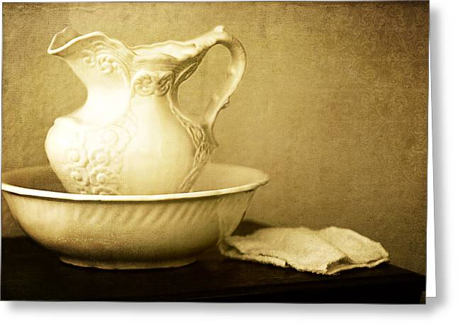 Old Pitcher Greeting Cards - Old Fashioned Pitcher and Basin Greeting Card by Lincoln Rogers