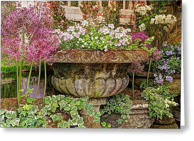 Garden Scene Greeting Cards - Old Fashioned Planters Greeting Card by Gill Billington