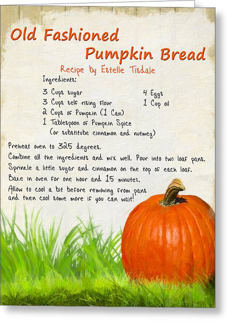 Old Fashioned Pumpkin Bread Greeting Card by Mark E Tisdale