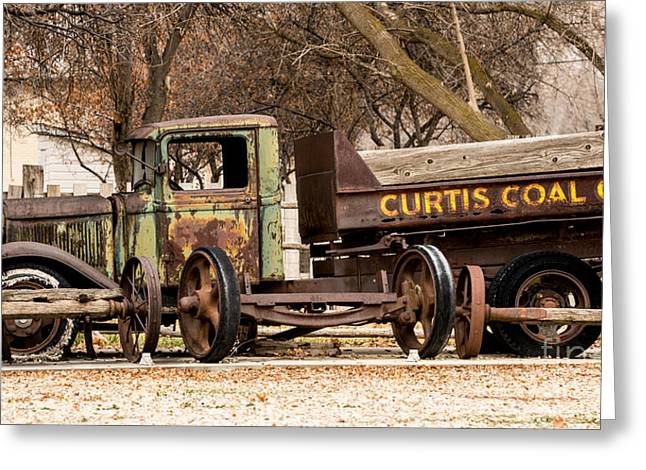 Run Down Greeting Cards - Old Fashioned Rusty Coal Delivery Truck Greeting Card by Gary Whitton