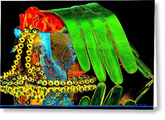Beaded Gloves Greeting Cards - Old Fashioned Still Life Pop Art Greeting Card by Phyllis Denton