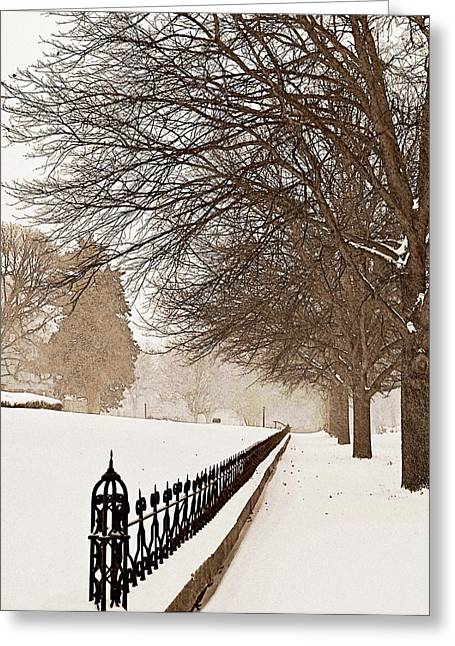 Winter Storm Greeting Cards - Old Fashioned Winter Greeting Card by Chris Berry