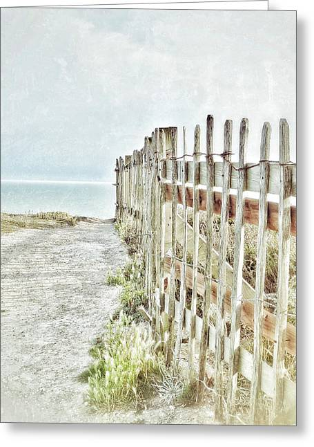 Sand Fences Greeting Cards - Old Fence To The Sea  Greeting Card by Connie Handscomb