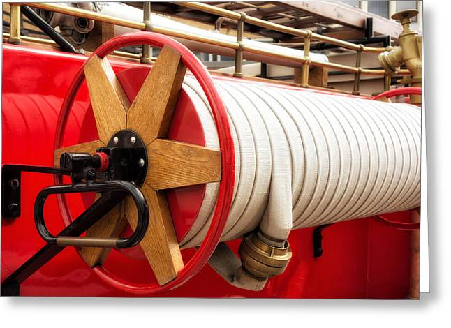 Brigade Greeting Cards - Old fire hose - red fire truck Greeting Card by Matthias Hauser