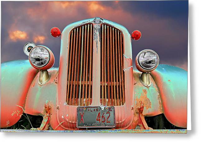 Blue Truck Greeting Cards - Old Firefighter Greeting Card by Ron Day