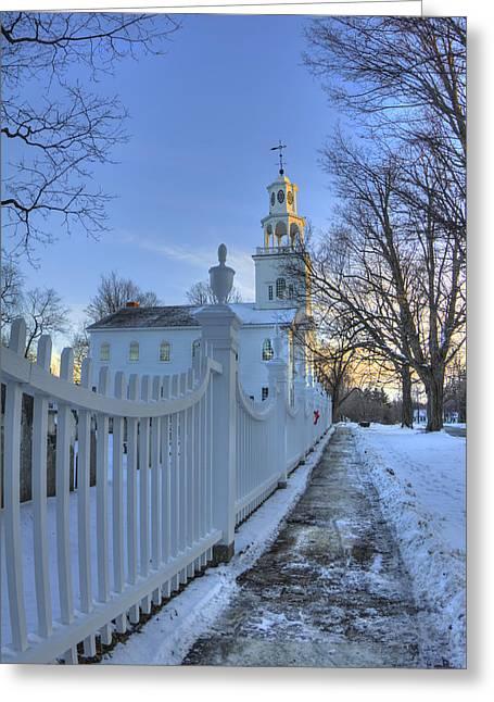 New England Snow Scene Greeting Cards - Old First Church - Bennington Vermont Greeting Card by Joann Vitali