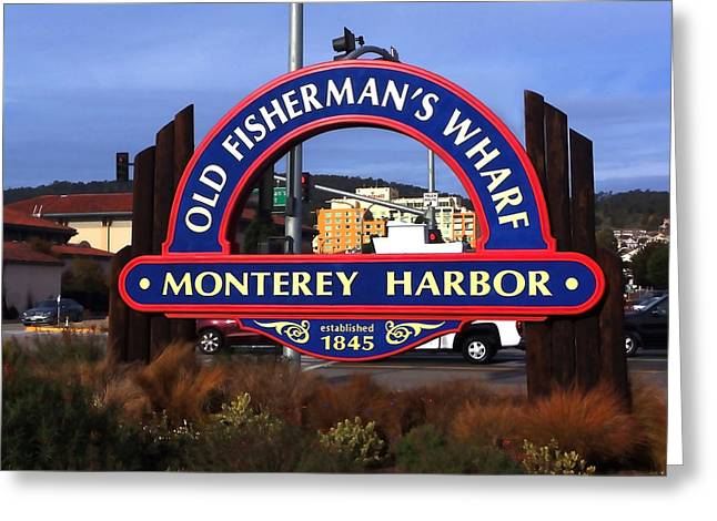 Ocean Art. Beach Decor Greeting Cards - Old Fishermans Wharf Sign Greeting Card by Art Block Collections