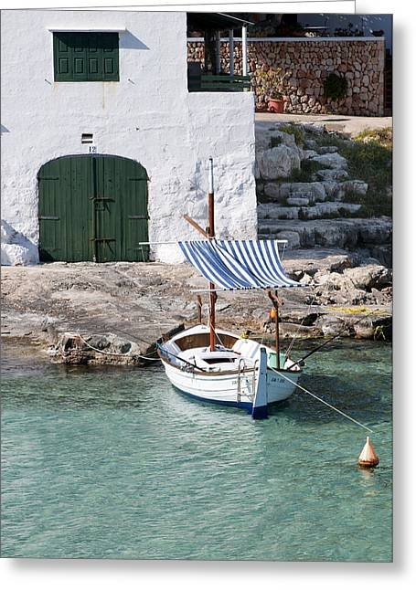 Stepping Stones Greeting Cards - Typical mediterranean fishermen villa in Alcaufar beach Minorca island  with llaut  Greeting Card by Pedro Cardona