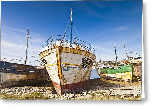 Editorial Greeting Cards - Old Fishing Boats Camaret-Sur-Mer Brittany France Greeting Card by Colin and Linda McKie