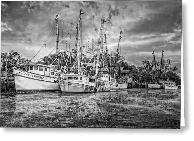 Docked Sailboats Greeting Cards - Old Fishing Boats Greeting Card by Debra and Dave Vanderlaan