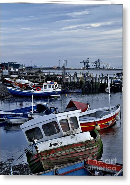 Boats In Harbor Greeting Cards - Old Fishing Boats Greeting Card by Martyn Arnold