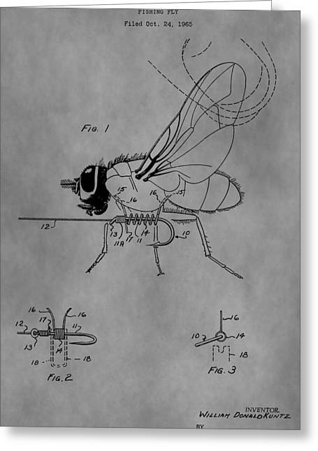 Flys Greeting Cards - Old Fishing Fly Patent Greeting Card by Dan Sproul