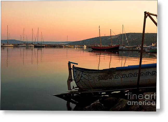 Yellow Sailboats Greeting Cards - Old Fishing Harbor on Black Sea Greeting Card by Kiril Stanchev