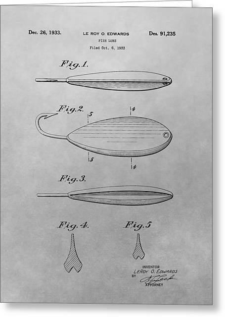 Bass Fish Mixed Media Greeting Cards - Old Fishing Lure Patent Drawing Greeting Card by Dan Sproul