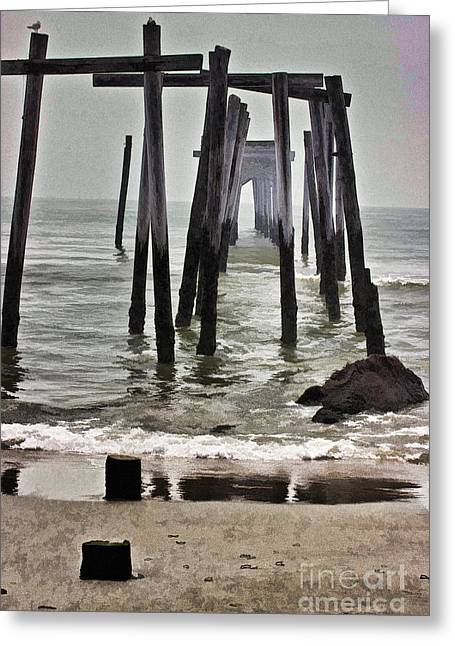 Superstorm Sandy Greeting Cards - Old Fishing Pier OCNJ Greeting Card by Tom Gari Gallery-Three-Photography