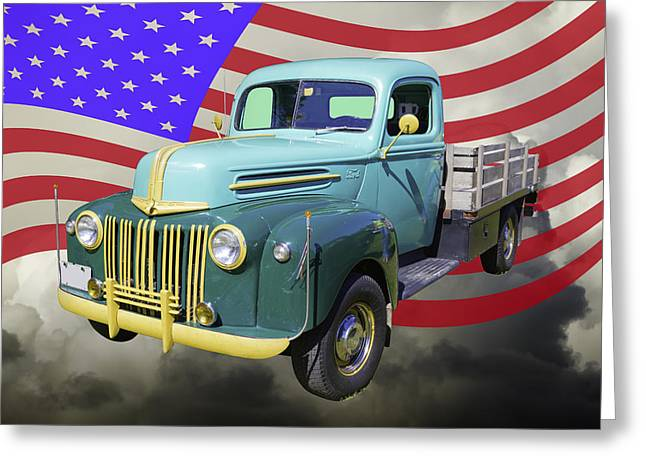 Antique Equipment Greeting Cards - Old Flat Bed Ford Work Truck And American Flag Greeting Card by Keith Webber Jr
