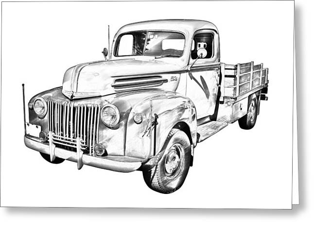 Old Trucks Greeting Cards - Old Flat Bed Ford Work Truck Illustration Greeting Card by Keith Webber Jr