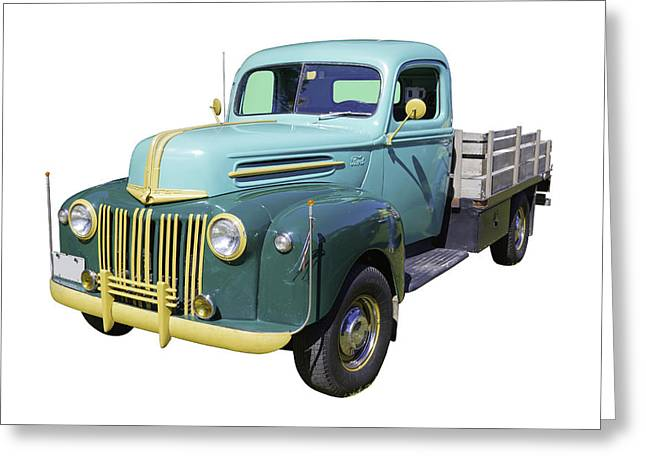 Classic Truck Greeting Cards - Old Flat Bed Ford Work Truck Greeting Card by Keith Webber Jr