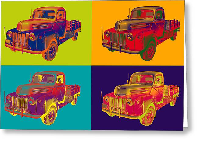 Old Trucks Greeting Cards - Old Flat Bed Ford Work Truck Pop Art Greeting Card by Keith Webber Jr