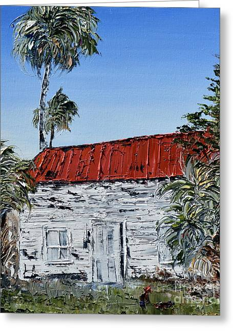 Pallet Knife Greeting Cards - Old Florida home with roosters Greeting Card by David Sigel