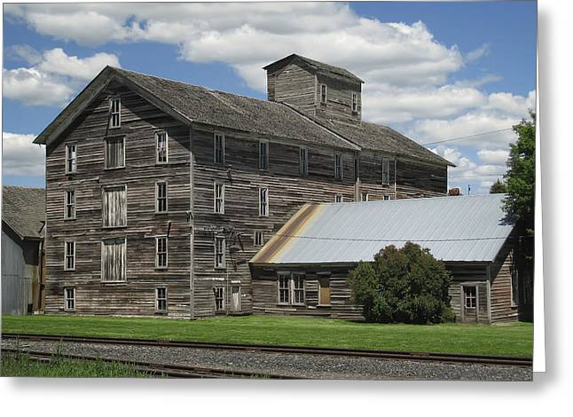 Wooden Building Greeting Cards - Old Flour Mill 1890 - Oakesdale Washington Greeting Card by Daniel Hagerman