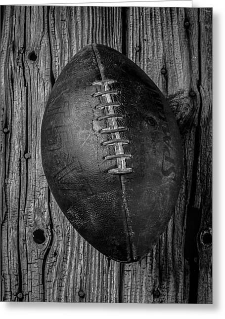Football Photographs Greeting Cards - Old Football Greeting Card by Garry Gay