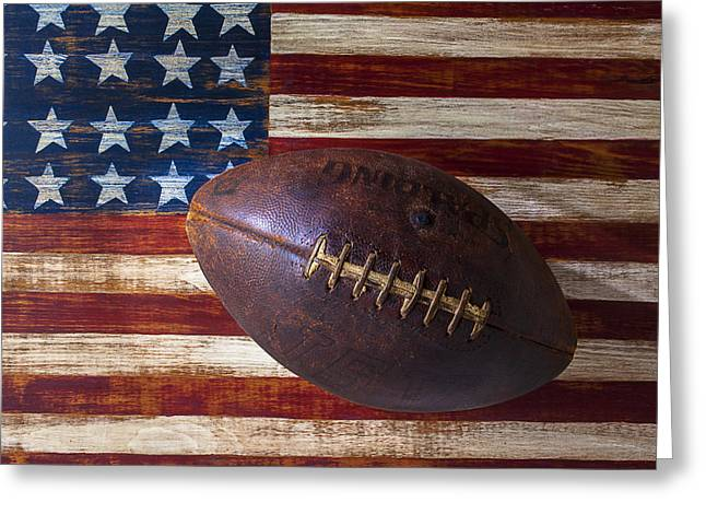 Landmarks Tapestries Textiles Greeting Cards - Old Football On American Flag Greeting Card by Garry Gay