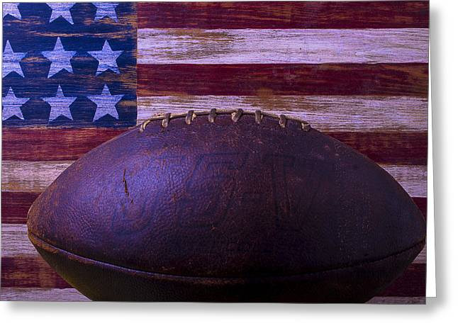 Blue Shadows Greeting Cards - Old Football With Flag Greeting Card by Garry Gay