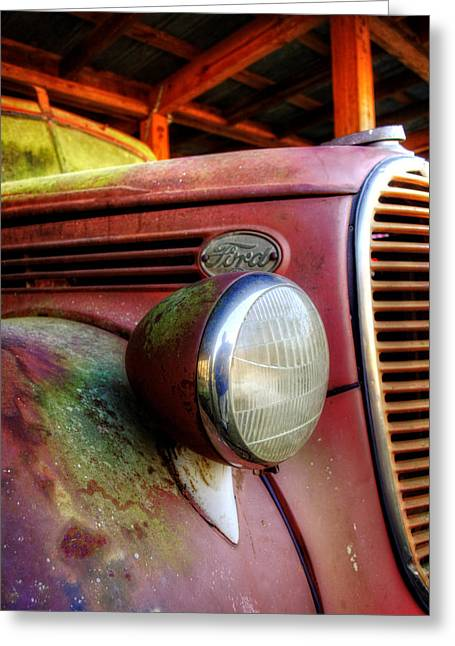 Old Trucks Greeting Cards - Old Ford Fire Truck Greeting Card by Greg Mimbs